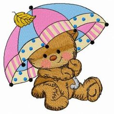 Teddy's rainy day 2 machine embroidery design. Machine embroidery design. www.embroideres.com