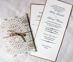Rustic Country Shabby Chic Lace and Burlap Twine Wedding Invitation Sample Listing. $6.50, via Etsy.
