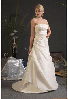 Trägerlos Günstige Schlichte Brautkleider aus Satin mit Applikation