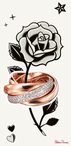 Paloma's Melody five-band ring in 18k rose gold with diamonds.