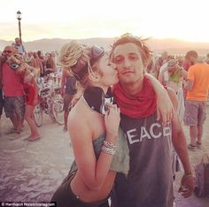 Black Rock City dwellers: The Burning Man enthusiasts - who are both fluent in Portuguese - have been reportedly dating for a decade