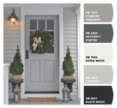 grey exterior house colors Super exterior house paint color combinations with brick fixer upper ideas Outside House Colors, Outdoor House Paint, Color Combinations Paint, House Painting, House Paint Exterior, Painted Brick, Paint Colors For Home, Exterior House Paint Color Combinations