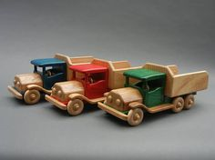 This sturdy truck features a functional dump bed perfect for dropping off loads . Available in natural wood colors with an oil and wax finish, this truck is also available in red, blue, green, and black. Colors come from non toxic dyes and are sealed with water-based