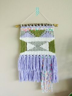 Weaving Wall Hanging // Hand woven in Green by LoveOfSweeties