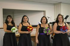 My beautiful bridesmaids with the colors incorporating the superhero they are!!