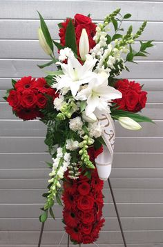 Red roses, gerberas, lilies and snapdragons Casket Flowers, Grave Flowers, Cemetery Flowers, Church Flowers, Funeral Flowers, Bouquet Flowers, Wedding Flowers, Red Rose Arrangements, Funeral Floral Arrangements