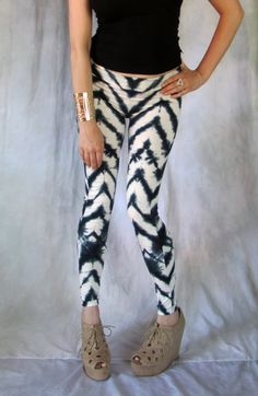 Tie Dye Chevron Leggings Shibori  Stripes womens printed fall pants bottoms handmade ooak yoga tribal on Etsy, $65.00