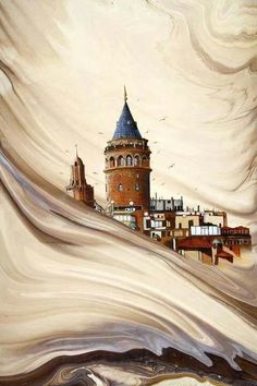 Galata Tower in Istanbul water marbling Ebru Art, Turkey Art, Istanbul City, Istanbul Turkey, Marble Art, Islamic Art, Art Drawings, Art Gallery, Canvas Art