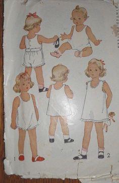 PRETTY Vintage 1940s MCCALL CHILD'S UNDERWEAR  Sewing Pattern SIZE 1 #5443 !!