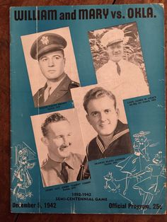 1942 Oklahoma vs William Mary Football Program RARE War Game Plato Andros | eBay