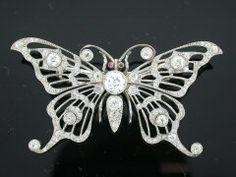 Art Nouveau platinum diamond and ruby butterfly brooch Martin & Stein Finest Antique Jewellery