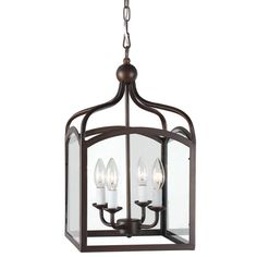 Ashley Bronze 4-light Foyer Hanging Lantern ($120) ❤ liked on Polyvore featuring home, lighting, ceiling lights, brown, colored lanterns, colored lamps, bronze lamp, brown lamps and hanging chain lamp