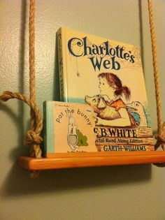 Very cute for a kids room...   Handmade Swing Shelf Children's Book Display Set of by amsnow3, $65.00