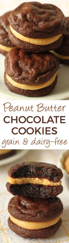 Flourless Chocolate Peanut Butter Cookie Sandwiches (grain-free, gluten-free, dairy-free) – Texanerin Baking These Flourless Chocolate Peanut Butter Cookie Sandwiches are gluten-free, grain-free, dairy-free and are super easy to put together! Peanut Butter Sandwich Cookies, Chocolate Peanut Butter Cookies, Cookie Sandwiches, Gluten Free Sweets, Gluten Free Baking, Dairy Free Recipes, Paleo Dessert, Delicious Desserts, Yummy Food