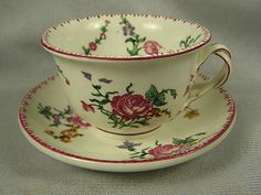 Vintage Gien French Faience Cup and Saucer Set Roses Floral