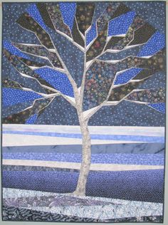 """Starry Winter Night, 35 x 47"""", art quilt by Terry Aske 