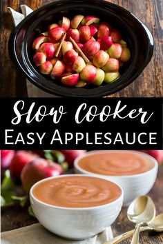 This Easy Slow Cooker Applesauce is extra easy because you can make it with the peels left on! It's also a healthy recipes because there's no added sugar, just pure delicious apple flavor. It's perfect for meal prep and freezes perfectly. I also have cooking times to make this one easy to fit into your schedule. #applesaucerecipe #slowcooker #healthy #paleo #glutenfree #dairyfree #vegan #healthysnack