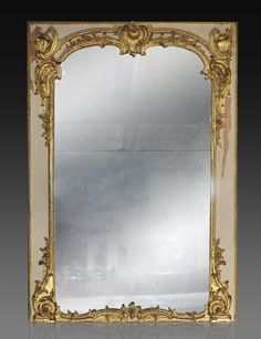 Important antique Louis XV period overmantel mirror in carved and gilt wood (ref. 10400) - Available at Galerie Marc Maison #mercury #mirror #overmantel #18thcentury #louis15