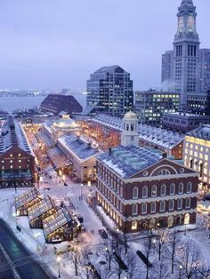 Quincy Market, Faneuil Hall in winter.