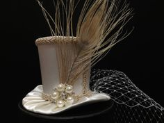 Off White Peacock Mini Top Hat for Wedding by daisyleedesign, $34.95