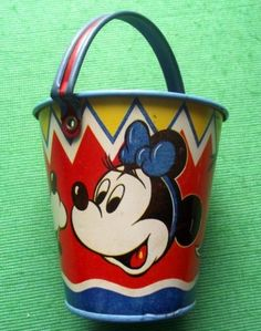 c1930 Happynak Disney Minnie Mouse Sand Pail Minnie Mouse, Mickey Mouse And Friends, Pail Bucket, Bucket And Spade, Friends Poster, Sand Toys, Watering Cans, Disney Collectibles, Beach Toys