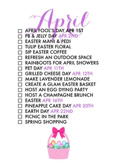 18 Reasons To Celebrate April! A monthly life list helps us celebrate each season of the year and find joy in every day!