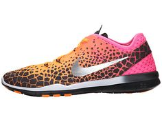 nike womens free TR FIT 5 PRT running trainers 704695 sneakers shoes (uk 4  us eu black metallic silver pink power bright citrus