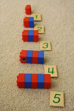 Duplo Montessori Rods. Great way to use something we already have!
