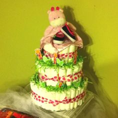 Attempt#2: Pink safari diaper cake