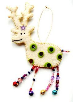 Love the beaded legs beaded leggings, animals, christmas presents, bead leg, reindeer ornament, felt ornaments, beads, christmas ornaments, felt reindeer