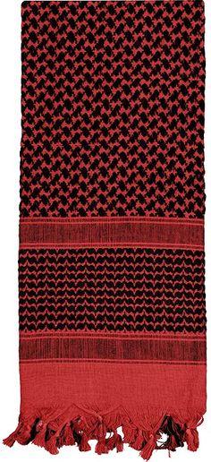Red & Black Shemagh Heavyweight Arab Tactical Desert Keffiyeh Scarf | 8537 RED/BLACK | $9.99
