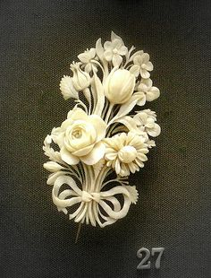 Victorian carved ivory brooch