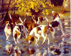 Hounds Off Scent - Oil on canvas by Andre Paper, 1998