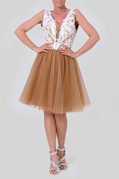 Φόρεμα βραδινό mini με τούλι efi