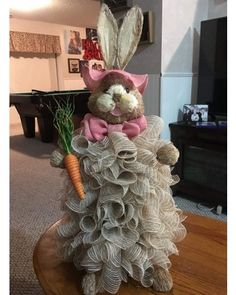 Easter Bunny made out of cone form and natural burlap deco mesh by Marianne | Photo Contest - CraftOutlet.com