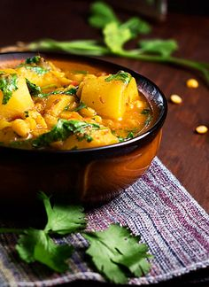 Potato and Yellow Split Pea Curry Recipe. A fast and hassle free meal perfect for Meatless Mondays. It is Vegan with meat option if desired. Reap the health benefits of dried yellow split peas with this curry. Indian Food Recipes, Vegetarian Recipes, Cooking Recipes, Healthy Recipes, Ethnic Recipes, Vegan Soups, Vegan Food, Asian, Quick Meals