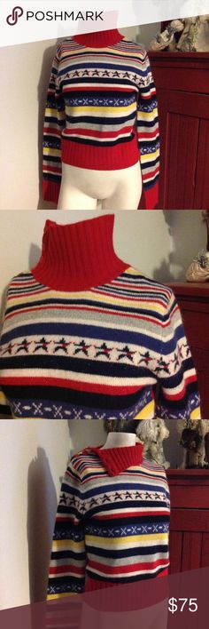 """Vintage Tommy Hilfiger Stars Stripes Sweater S M Very nice vintage 07/02 Tommy Jeans Sweater. Striped with a row of stars. Can be worn as a turtleneck or unbuttoned and down. Wool/Angora blend and marked size Medium. Chest 34"""" Length from shoulder 20"""". One of a kind! Tommy Hilfiger Sweaters Cowl & Turtlenecks"""
