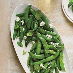 Sautéed Snap Peas with Ricotta Salata and Mint | MyRecipes.com 1 cup = 75 Calories