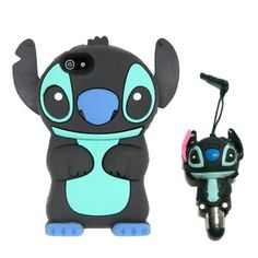 DE Cute 3D Cartoon Animal Series iPhone 5C Case New Black 3D Cartoon Stitch Movable Ear Shape Style Soft Silicone Rubber Case Protective Cover for Apple iPhone 5C With 3D Stitch Stylus Touch Pen Gift:Amazon:Cell Phones & Accessories