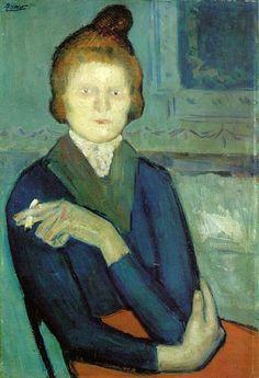 Pablo Picasso, Woman with a Cigarette, 1901- Barnes Foundation, Philadelphia, PA