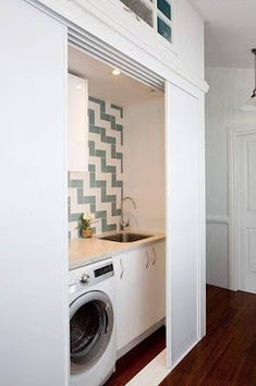 59 European Laundry Room That Always Look Awesome - Futurist. - 59 European Laundry Room That Always Look Awesome – Futuristic Interior Designs Technology Inspi - Laundry Cupboard, Laundry Closet, Small Laundry, Laundry In Bathroom, Hidden Laundry Rooms, Hidden Kitchen, Bathroom Closet, European Laundry, Interior Design And Technology