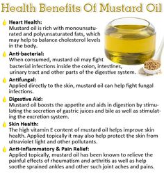 Mustard Oil and its benefits. Mustard Oil has antioxidant and cholesterol reducing properties. It is also loaded with essential vitamins. Though this oil is nutty tasting it is good for heart and also has many other benefits! Herbal Remedies, Health Remedies, Home Remedies, Natural Remedies, Health Facts, Health And Nutrition, Health And Wellness, Wellness Foods, Mental Health