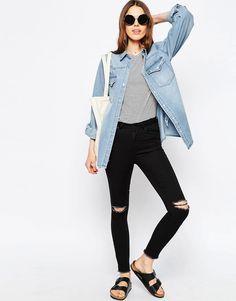 Immagine 4 di ASOS - Camicia boyfriend di jeans lavaggio chiaro mirto