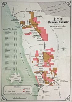 1912 map showing the route of the Midland Railway, with the land they were granted for building the railway shaded in pink and brown. Vintage Maps, Vintage Posters, Interior Inspiration, Design Inspiration, Fork In The Road, Australian Vintage, Virtual Museum, Morse Code, Old Maps