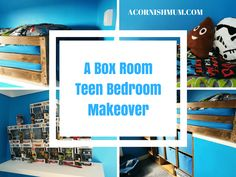 A DIY bulkhead box room bed and bedroom makeover post. Ideal bedroom decor idea for teenagers. Check out our home makeover post and Sis clever DIY. Box Room Bedroom Ideas For Kids, Box Room Beds, Box Bedroom, Blue Bedroom Decor, Closet Bedroom, Teen Bedroom Makeover, Diy Throws, Boy Box, Diy Bett