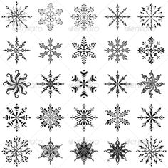 GraphicRiver Snowflakes Outline Set 3601908