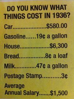 What things cost in 1936 | cynplicity