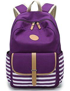41559ef5fbaa Leaper Cute Thickened Canvas School Backpack Laptop Bag Shoulder Daypack  Handbag (L,Purple). Vászon HátizsákLányruhákIskolafelszerelésTáska