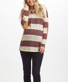 Another great find on #zulily! Plum Stripe Faux Suede-Elbow Knit Maternity Top #zulilyfinds