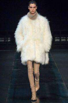 Helmut Lang Fall 2014 RTW. #HelmutLang #Fall2014 #NYFW mohair outerwear. loose turtleneck. skin tight camel skin tone pants.